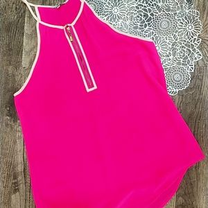 Intensive Pink tank top with cream details